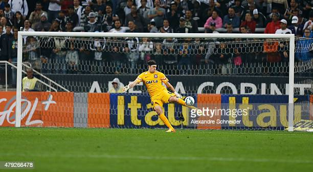 Cassio of Corinthians in action during the match between Corinthians and Ponte Preta for the Brazilian Series A 2015 at Arena Corinthians stadium on...