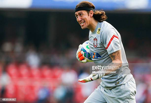 Cassio of Corinthians in action during the match between Sao Paulo and Corinthians for the Brazilian Series A 2015 at Morumbi stadium on August 09...