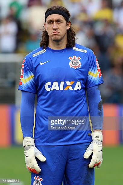 Cassio of Corinthians lines up during the national anthem a match between Criciuma and Corinthians as part of Campeonato Brasileiro 2014 at Heriberto...