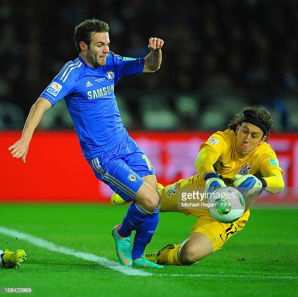 Cassio of Corinthians saves from Juan Mata of Chelsea during the FIFA Club World Cup Final Match between Corinthians and Chelsea at the International...
