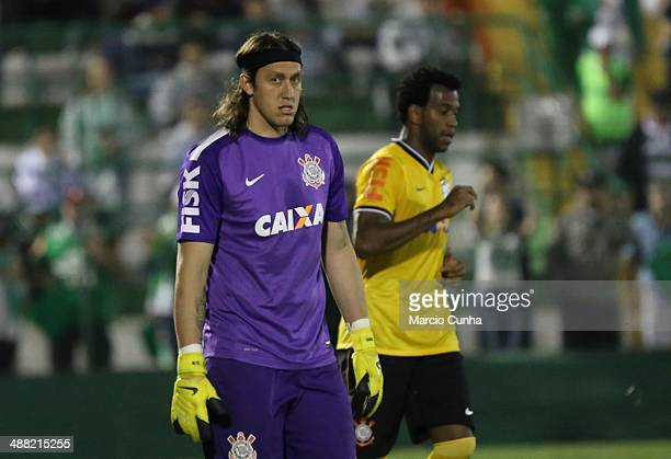 Cassio of Cornthians during the match between Chapecoense and Corinthians as part of Brasileirao Series A 2014 at Arena Conda on May 04 2014 in...