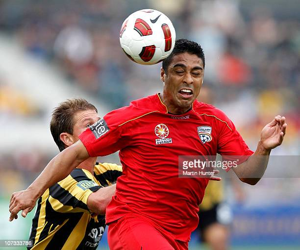 Cassio of the Adelaide United contests for the ball with Ben Sigmund of the Phoenix during the round 17 ALeague match between the Wellington Phoenix...