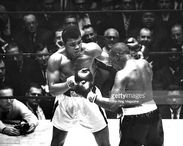 Cassius Clay connects with a left punch to Doug Jones during the fight at Madison Square Gardens on March 131963 in New YorkNew York Muhammad Ali won...