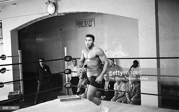 Cassius Clay doing some foot work in the ring at the Main Street Gym preparing for his bout against Archie Moore October 1962 in Los Angeles...