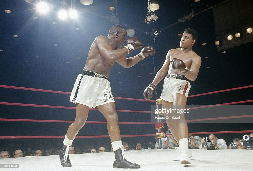 Cassius Clay in action vs Sonny Liston in a World Heavyweight Title fight February 25 1964 at Convention Hall in Miami Florida