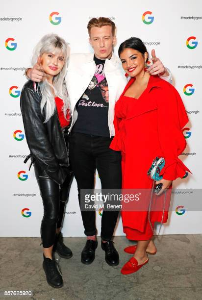 Cassyette Jack Saunders and Emma Breschi attend Google's Pixel 2 phone launch at The Old Selfridges Hotel on October 4 2017 in London England