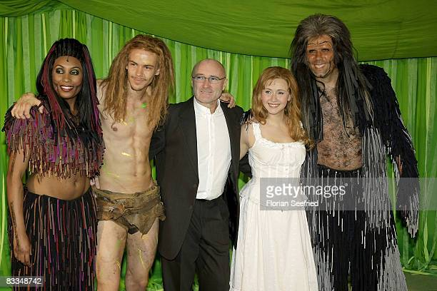 Cast and actor Anton Zetterholm and producer singer Phil Collins and actress Elisabeth Huebert attend the German premiere of 'Tarzan Musical'at the...