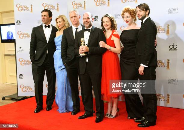 Cast and creators of Best Television Series Drama 'Mad Men' pose in the press room at the 66th Annual Golden Globe Awards held at the Beverly Hilton...