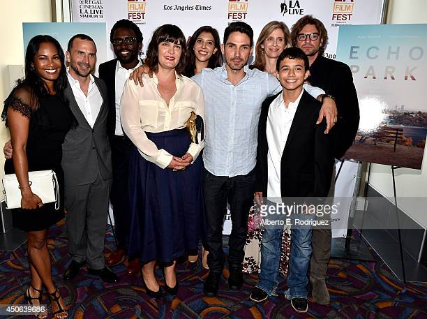 Cast and crew attend the premiere of 'Echo Park' during the 2014 Los Angeles Film Festival at Regal Cinemas LA Live on June 14 2014 in Los Angeles...