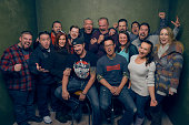 Cast and crew from 'The Resurrection of Jake The Snake Roberts' pose for a portrait at the Village at the Lift Presented by McDonald's McCafe during...