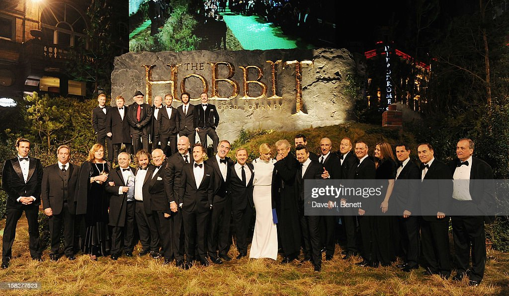 Cast and crew including Andy Serkis, Peter Jackson, James Nesbitt, Martin Freeman, Cate Blanchett, Richard Armitage and Sir Ian Mckellen attends the Royal Film Performance of 'The Hobbit: An Unexpected Journey' at Odeon Leicester Square on December 12, 2012 in London, England.