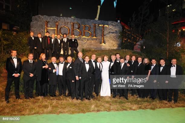 Cast and crew including Cate Blanchett Sir Ian McKellen Martin Freeman James Nesbitt Andy Serkis and Richard Armitage with Perter Jackson arriving...