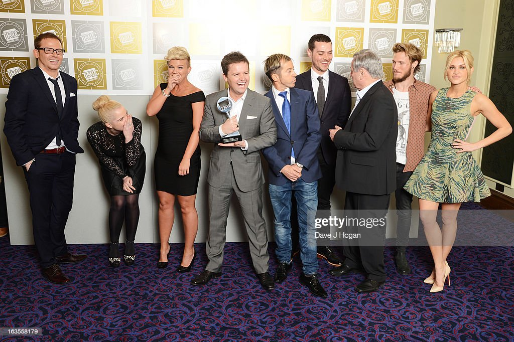 Cast and crew including Declan Donnelly Kerry Katona Ashley Williams Dougie Poynter Tony Blackburn and Joe Swash pose with the Special Award for I'm...