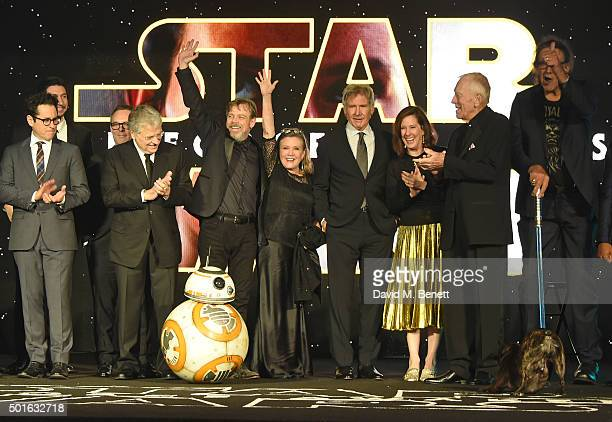 Cast and crew including JJ Abrams Lawrence Kasdan Mark Hamill Carrie Fisher Harrison Ford Kathleen Kennedy Max von Sydow and Peter Mayhew attend the...