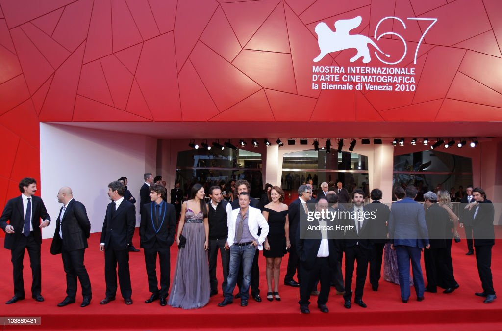 Cast and crew members attend the 'Noi Credevamo' premiere during the 67th Venice Film Festival at the Sala Grande Palazzo Del Cinema on September 7, 2010 in Venice, Italy.