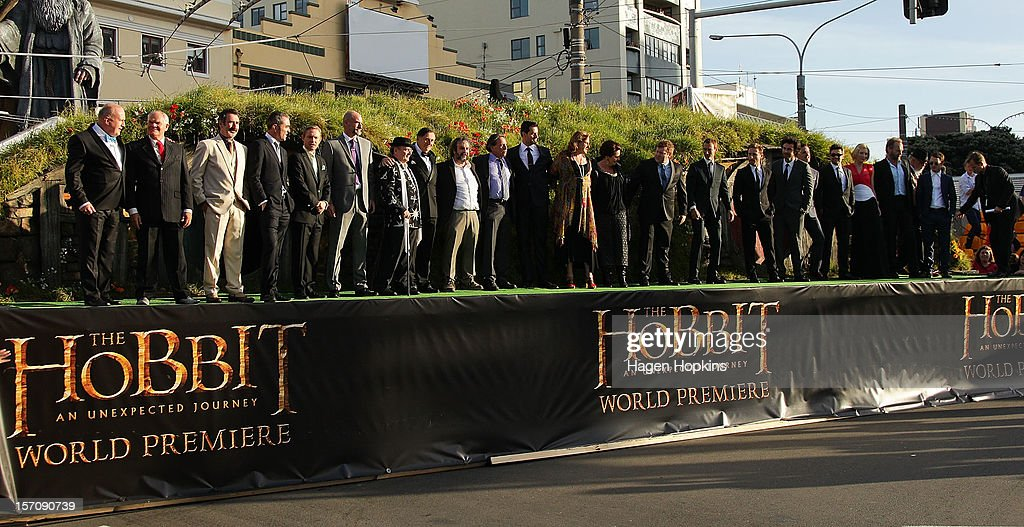 Cast and crew members line up on stage at the 'The Hobbit: An Unexpected Journey' World Premiere at Embassy Theatre on November 28, 2012 in Wellington, New Zealand.