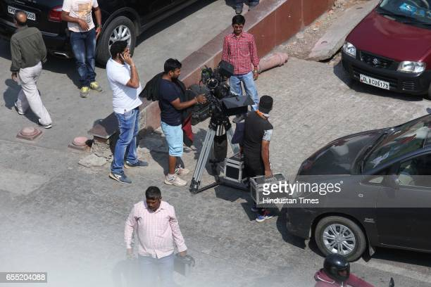 Cast and crew members of upcoming movie Munna Michael during shooting at Turkman Gate Old Delhi on March 17 2017 in New Delhi India Munna Michael is...
