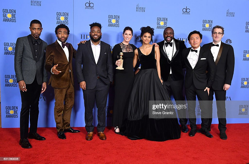 Cast and crew of 'Atlanta,' winners of Best Musical or Comedy TV Series, pose in the press room during the 74th Annual Golden Globe Awards at The Beverly Hilton Hotel on January 8, 2017 in Beverly Hills, California.