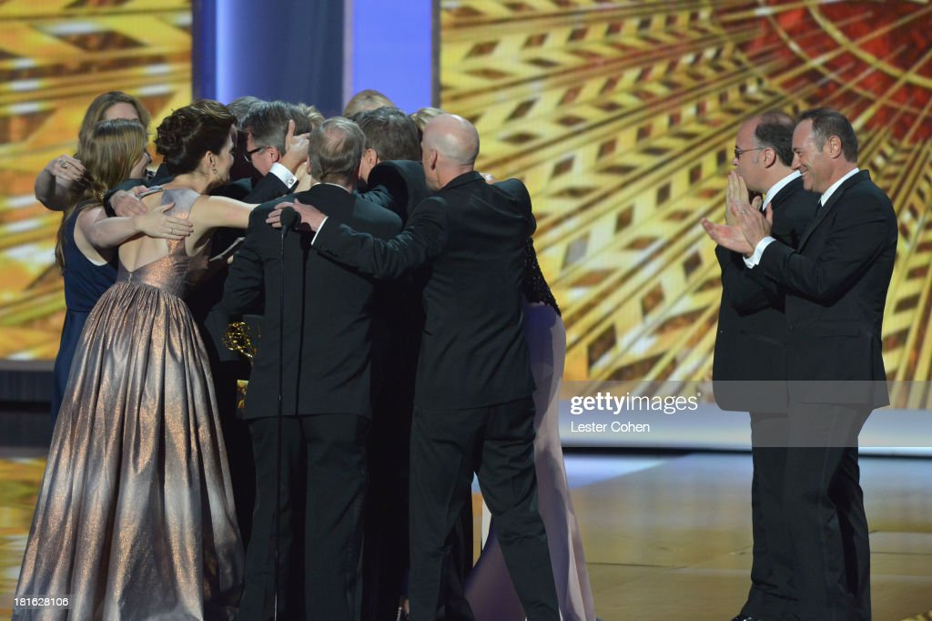 Cast and crew of 'Breaking Bad' appears onstage during the 65th Annual Primetime Emmy Awards held at Nokia Theatre L.A. Live on September 22, 2013 in Los Angeles, California.