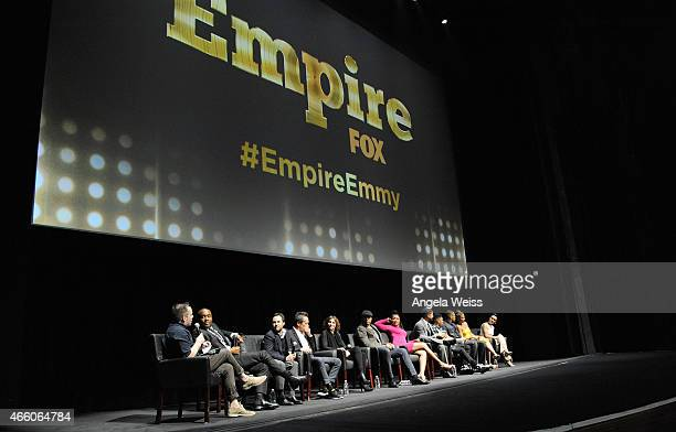 Cast and crew of 'Empire' on stage at Fox's 'Empire' ATAS Academy Event at The Theatre at The Ace Hotel on March 12 2015 in Los Angeles California