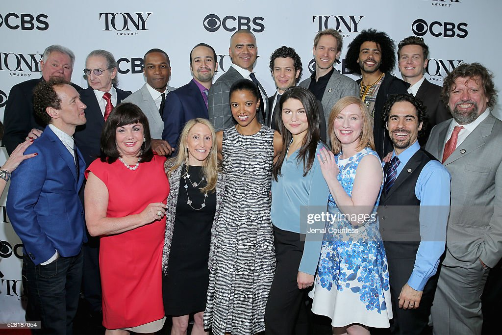 Cast and crew of 'Hamilton' attend the 2016 Tony Awards Meet The Nominees Press Reception on May 4, 2016 in New York City.