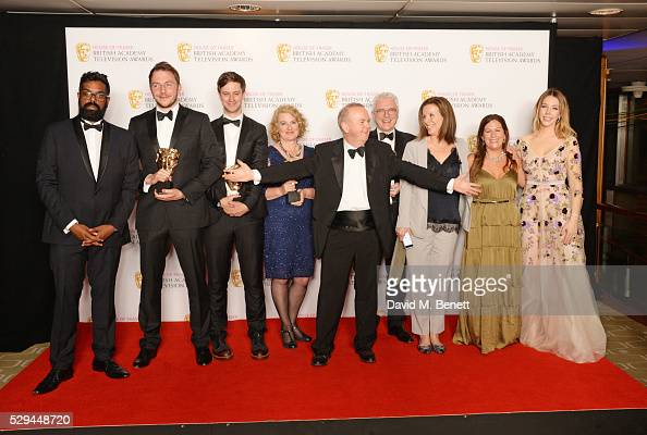 Cast and crew of 'Have I Got News For You' winners of the Best Comedy and Comedy Entertainment Programme award pose in the winners room at the House...