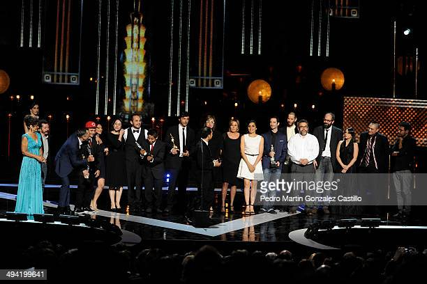 Cast and crew of La Jaula de Oro receives the Ariel Award during the 56th Ariel Awards Ceremony at Palace of Fine Arts on May 27 2014 in Mexico City...