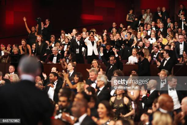 Cast and crew of 'Moonlight' celebrate the win for Best Picture during the 89th Annual Academy Awards at Hollywood Highland Center on February 26...