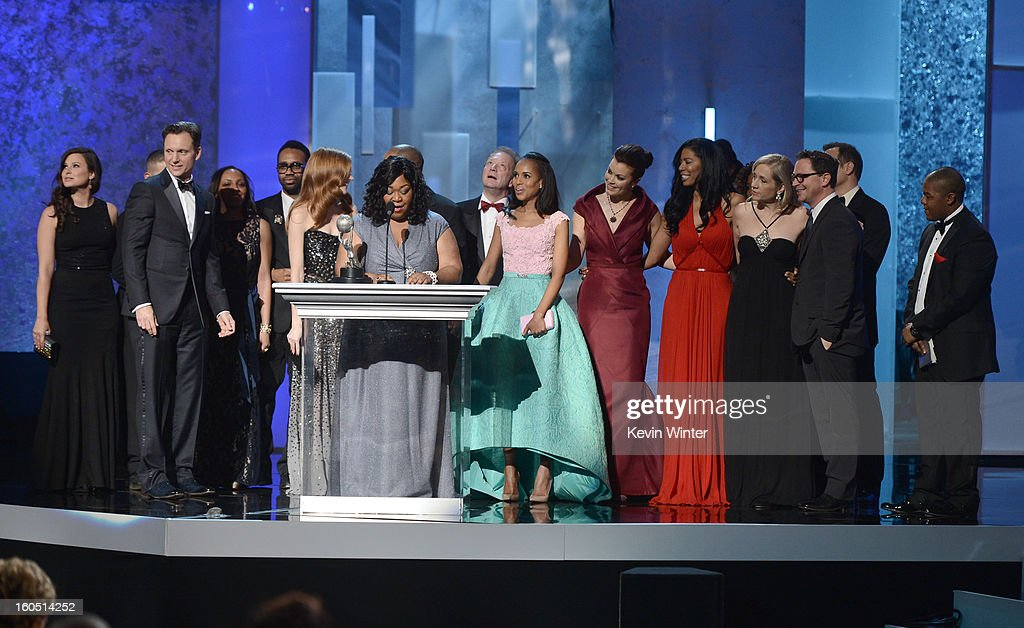 Cast and crew of 'Scandal' accept Outstanding Drama Series award onstage during the 44th NAACP Image Awards at The Shrine Auditorium on February 1, 2013 in Los Angeles, California.