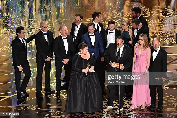 Cast and crew of 'Spotlight' including actors Brian d'Arcy James Michael Keaton writerdirector Tom McCarthy actor Mark Ruffalo producers Nicole...