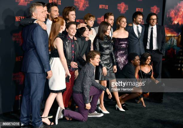 Cast and crew of Stranger Things attend the premiere of Netflix's 'Stranger Things' Season 2 at Regency Bruin Theatre on October 26 2017 in Los...