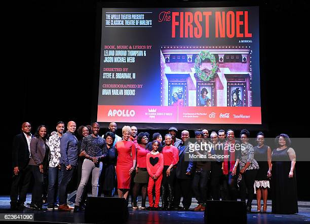 Cast and crew of 'The First Noel' pose for a photo at 'The First Noel' Sneak Peek at The Apollo Theater on November 16 2016 in New York City