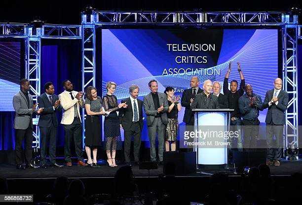 Cast and crew of 'The People v OJ Simpson American Crime Story' accept the award for 'Program of the Year' onstage at the 32nd annual Television...