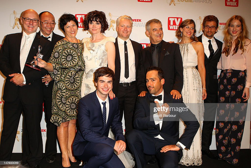 Cast and crew of 'The Slap' pose after winning the logie for Most Outstanding Drama Series or Mini-Series at the 2012 Logie Awards at the Crown Palladium on April 15, 2012 in Melbourne, Australia.