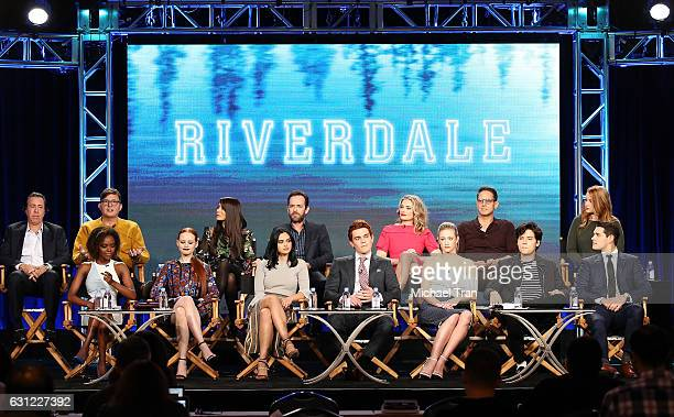 Cast and Crew of the television show 'Riverdale' onstage during the 2017 Winter TCA Tour Panels CW held at The Langham Huntington Hotel and Spa on...