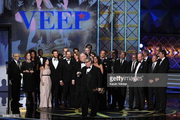 Cast and crew of 'Veep' accept the Outstanding Comedy Series award onstage during the 69th Annual Primetime Emmy Awards at Microsoft Theater on...