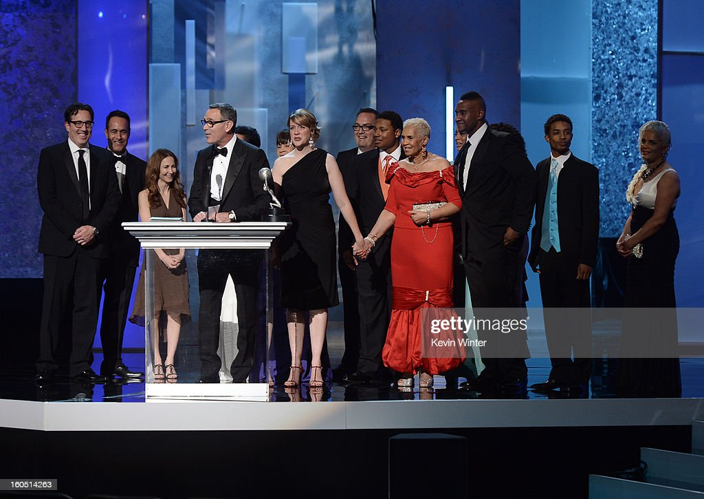 Cast and crew of 'Welcome to Sweetie Pie's,' winner Outstanding Reality Series, speaks onstage during the 44th NAACP Image Awards at The Shrine Auditorium on February 1, 2013 in Los Angeles, California.