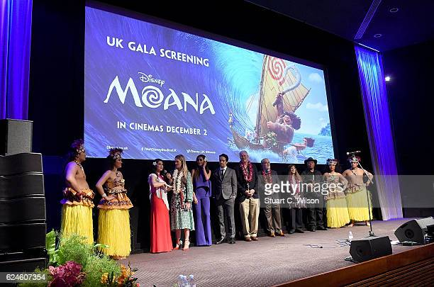 Cast and crew on stage at the UK Gala screening of Disney's 'MOANA' at BAFTA on November 20 2016 in London England
