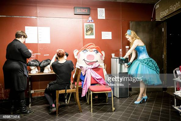 Cast and crew prepare backstage during a performance of Mother Goose at Hackney Empire on December 2 2014 in London England