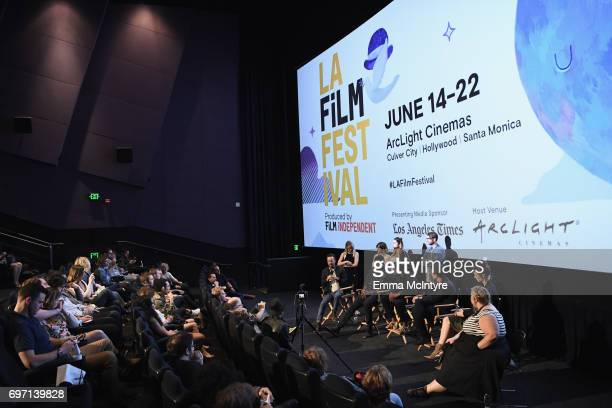 Cast and Crew speak at the 'Izzy Gets The Fuck Across Town' and 'Ok Call Me Back' Premieres during the 2017 Los Angeles Film Festival at Arclight...