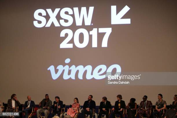 Cast and crew speak on stage at the premiere of 'American Gods' during 2017 SXSW Conference and Festivals at Vimeo on March 11 2017 in Austin Texas