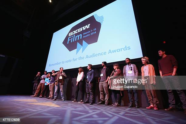 Cast and crew speak onstage at the 'Faults' Photo Op and QA during the 2014 SXSW Music Film Interactive Festival at Stateside Theater on March 9 2014...