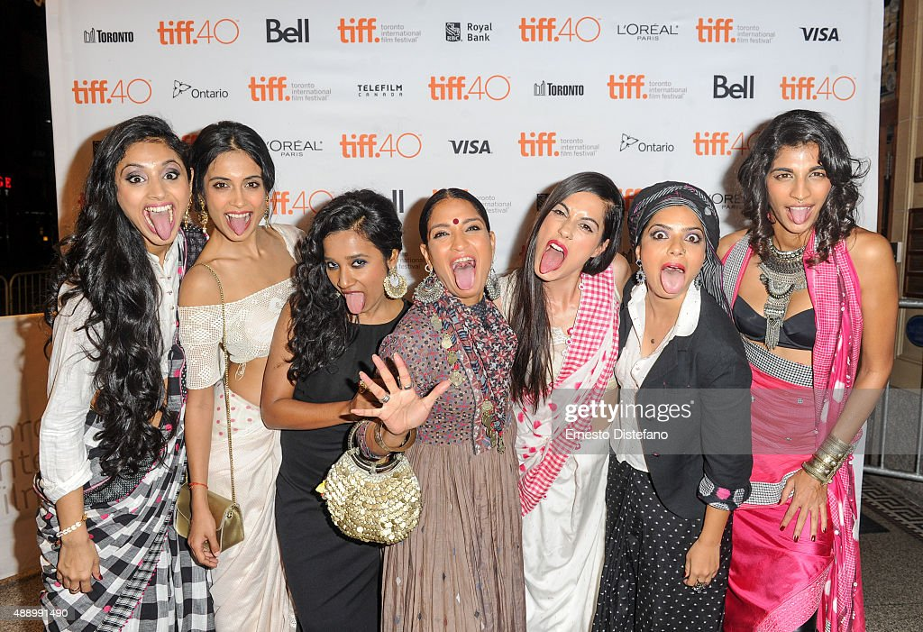 Cast attends premiere of 'Angry Indian Godesses' at the 2015 Toronto International Film Festival, L-R Pavleen Gujral, Sarah-Jane Dias, <a gi-track='captionPersonalityLinkClicked' href=/galleries/search?phrase=Tannishtha+Chatterjee&family=editorial&specificpeople=2562123 ng-click='$event.stopPropagation()'>Tannishtha Chatterjee</a>, <a gi-track='captionPersonalityLinkClicked' href=/galleries/search?phrase=Sandhya+Mridul&family=editorial&specificpeople=6597835 ng-click='$event.stopPropagation()'>Sandhya Mridul</a>, Amrit Maghera, <a gi-track='captionPersonalityLinkClicked' href=/galleries/search?phrase=Rajshri+Deshpande&family=editorial&specificpeople=15046435 ng-click='$event.stopPropagation()'>Rajshri Deshpande</a> and <a gi-track='captionPersonalityLinkClicked' href=/galleries/search?phrase=Anushka+Manchanda&family=editorial&specificpeople=5577465 ng-click='$event.stopPropagation()'>Anushka Manchanda</a> at The Elgin on September 18, 2015 in Toronto, Canada.