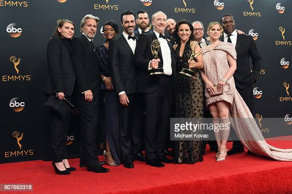 Cast Crew of 'Veep' winner of Outstanding Comedy Series pose in the press room at the68th Annual Primetime Emmy Awards at Microsoft Theater on...