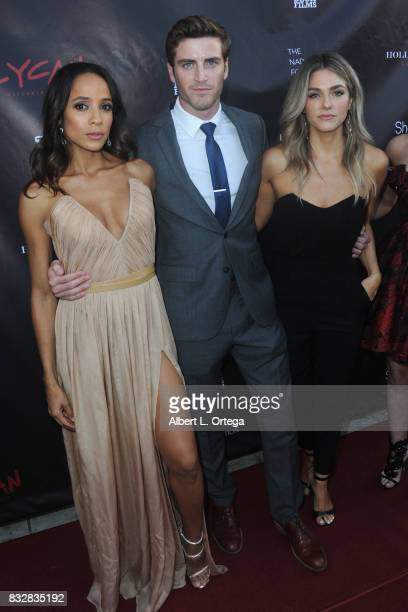 "Cast Dania Ramirez Jake Lockett and Rebekah Graf arrive for the Premiere Of Parade Deck's ""Lycan"" held at Laemmle's Ahrya Fine Arts Theatre on August..."