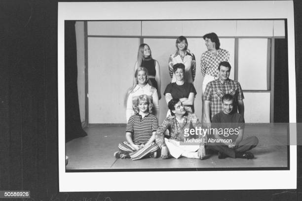 Cast for play The Real Live Brady Bunch based on TV's The Brady Bunch posing on stage incl Becky Thyre Jane Lynch Pat Towne Melanie Hutsell Mari...
