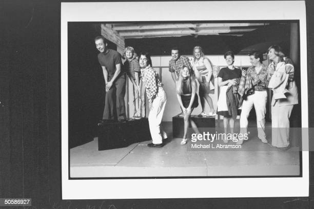 Cast for play The Real Live Brady Bunch based on TV's The Brady Bunch posing on stage incl Mick Napier Susan Messing Pat Towne Ben Zook Becky Thyre...