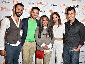 Cast from the film 'BeeBa Boyz' Ali Kazmi Ali Momen director Deepa Mehta Gia Sandhu and Gabe Grey attend the Toronto International Film Festival...