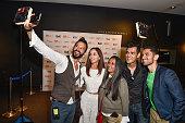 Cast from the film 'BeeBa Boyz' Ali Kazmi Gia Sandhu director Deepa Mehta Gabe Grey and Ali Momen attend the Toronto International Film Festival...