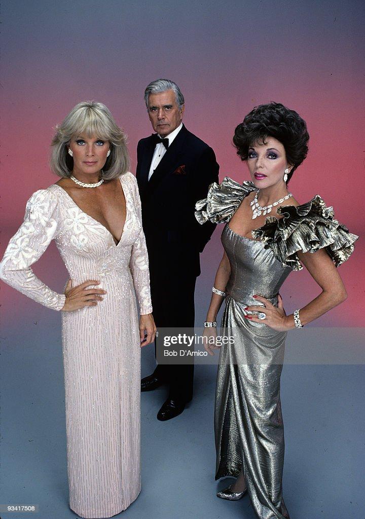 DYNASTY - cast gallery - Season Four - 10/4/83, Linda Evans (Krystle), John Forsythe (Blake), Joan Collins (Alexis).,
